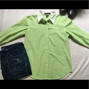 Lauren Ralph Lauren Green White Stripe Button Down